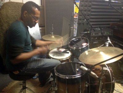 Claude Coleman, Jr. in the studio: GoodFlow Productions, Asheville, NC